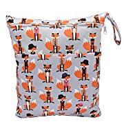1 PC Baby Wet/Dry Bag Splice Cloth Diaper Waterproof Bags with Zipper Snap Handle (Fox)