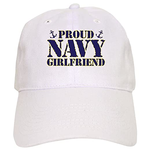 0c42b8613e8 Amazon.com  CafePress - Proud Navy Girlfriend - Baseball Cap with ...
