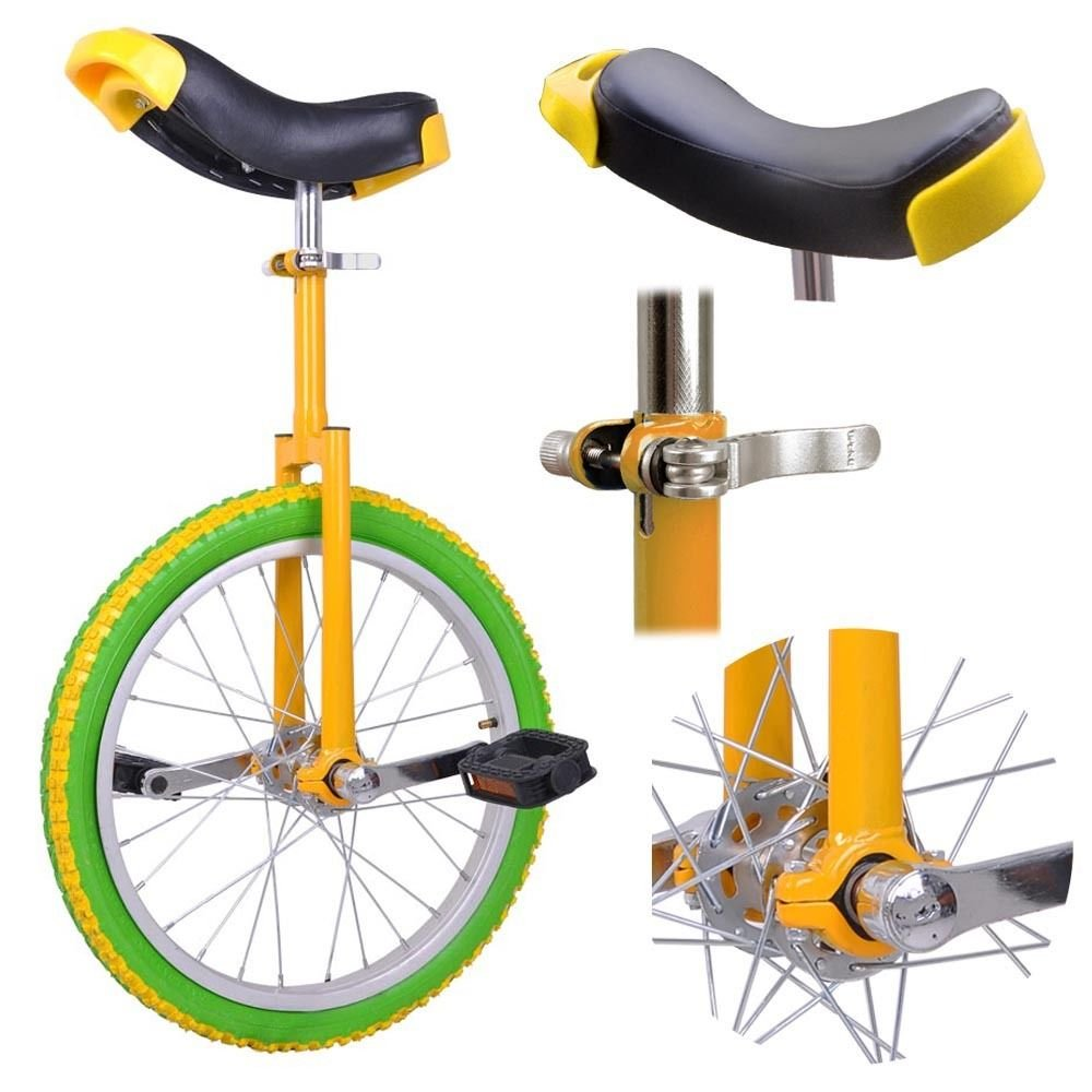 GHP Yellow & Green Manganese Steel 18'' Wheel Skid-Proof Tire Aluminum Rim Unicycle by Globe House Products (Image #2)