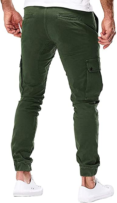 Corriee Mens Reflective Trousers Windproof Road Work Overalls Mens Casual Drawstring Long Pants with Pockets