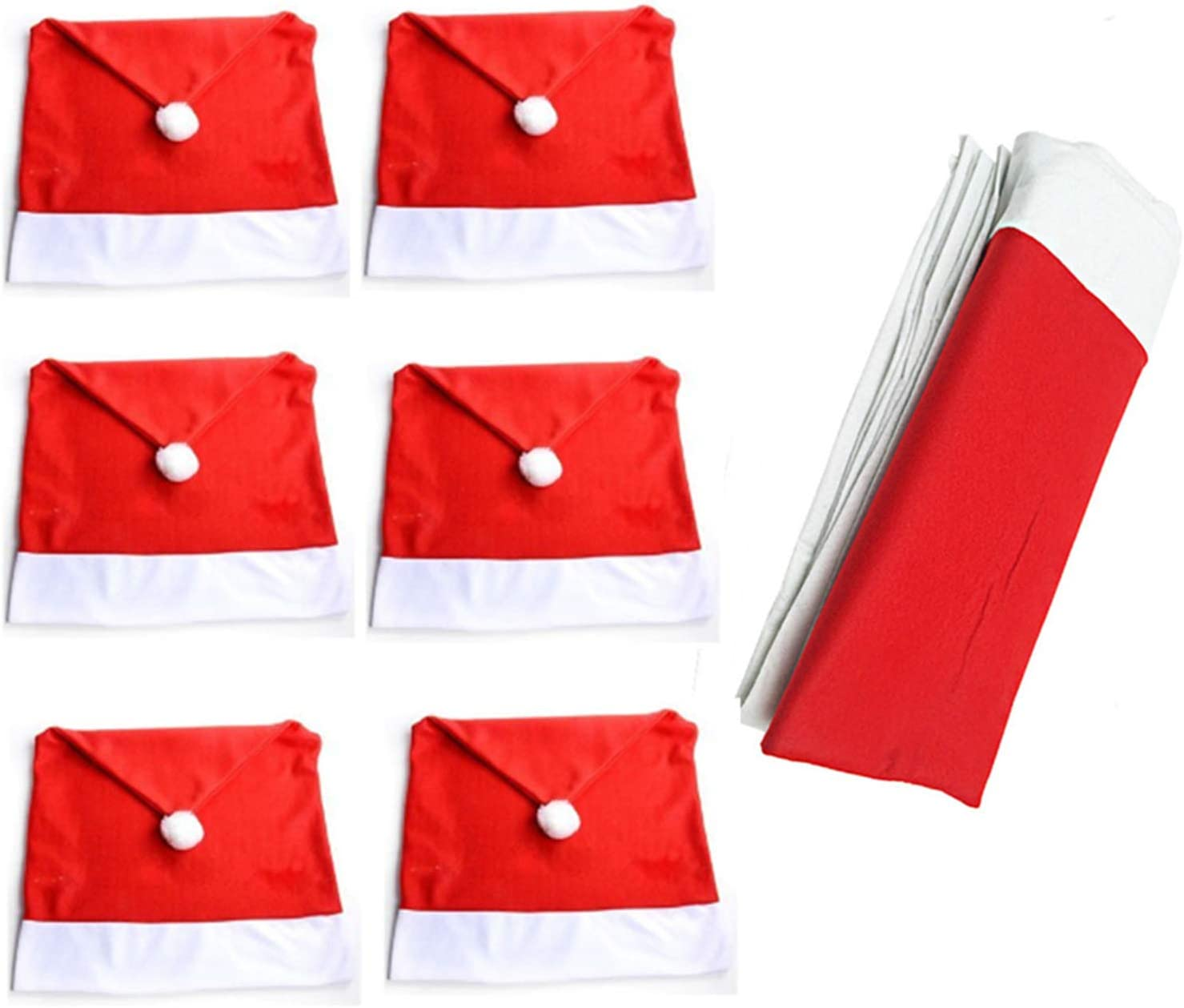 for Xmas Party Dinner Decor HONGCI Christmas Dinner Table Decoration Suit 132x208cm 6pcs Santa Clause Red Hat Chair Covers 1pcs Santas Table Red and White Rectangular Tablecloth