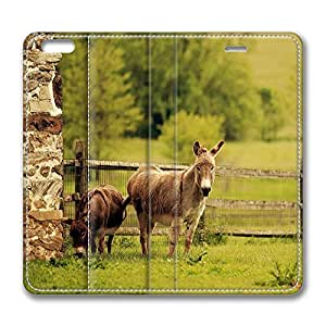 iPhone 6 Case, iPhone 6 Leather Case, Fashion Protective PU Leather Slim Flip Case [Stand Feature] Cover for New Apple iPhone 6(4.7 inch) - Donkeys
