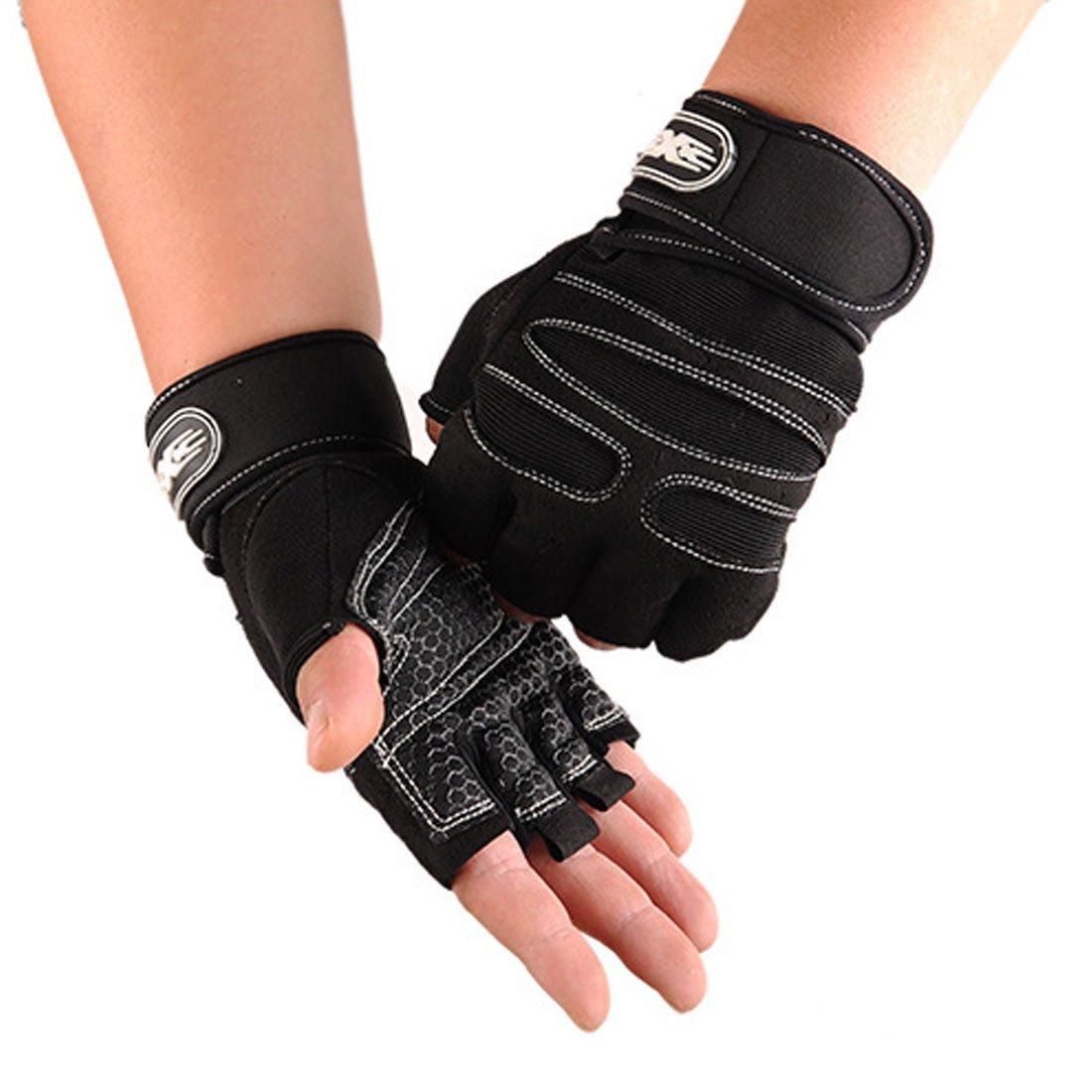 yingniao通気性ウェイトリフティングトレーニングフィットネスジムワークアウト手袋 B01JOQ686K  ブラック-ホワイト X-Large