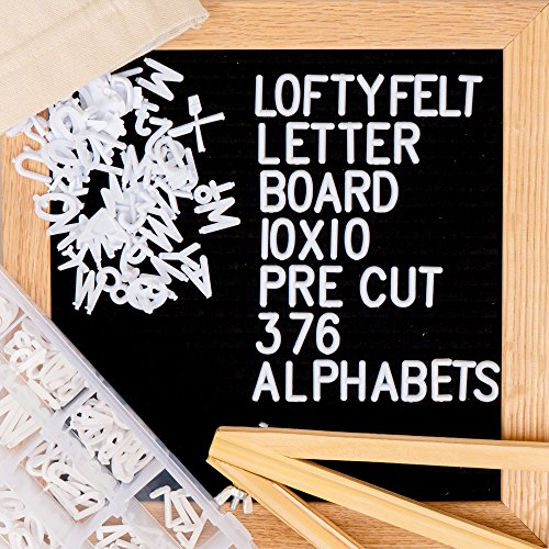 Letter Board 10 x 10 inches Black Felt Letter Board with PRE-Cut 376 Letters, Emojis, Free Letter Box Organizer. Changeable Letter Board Made with Solid Oak Frame with Mounting Hooks and Tripod Stand by LoftyFelt (Image #6)