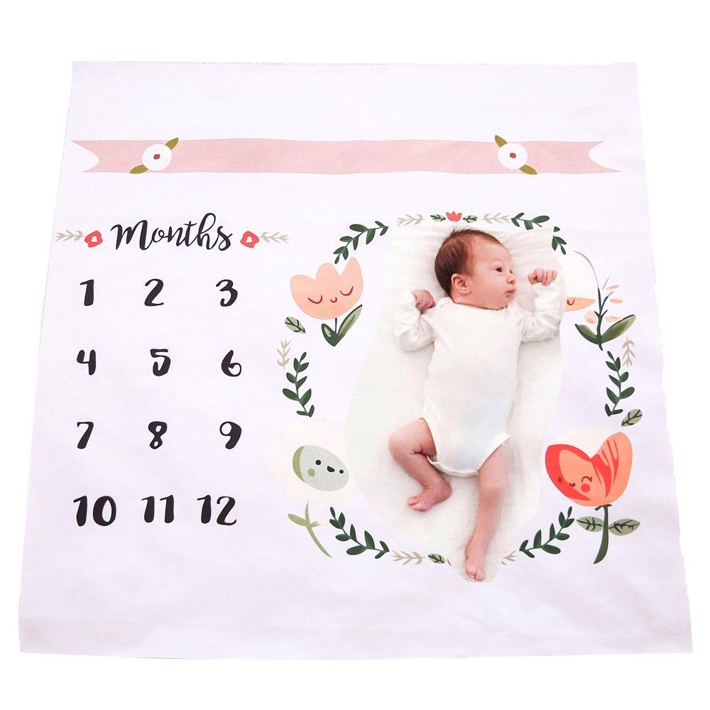 マンスリー ベビー マイルストーン ブランケット 写真撮影 撮影 背景 ベビーカーカバー 再利用可能 幼児 赤ちゃん用 写真撮影用ブランケット KT-0126  フラワー B079BXR1NW