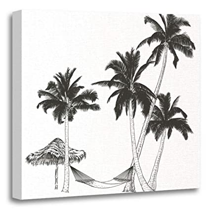 Emvency Painting Canvas Print Artwork Decorative Green Coconut On Graphic Tablet Hand Drawing Palm Trees