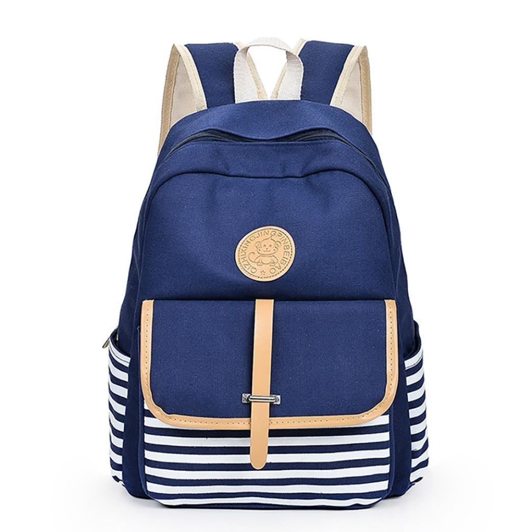 Leisure Backpack for Girls Teenage Canvas Shoulder Bookbags School Travel Backpack Bag Bookbags Daypack (Blue)