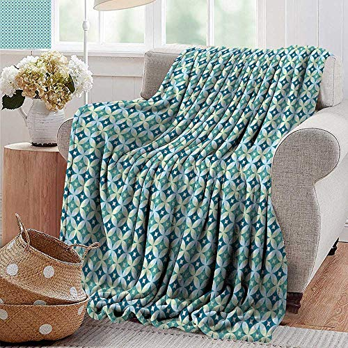 (PearlRolan Throw Blanket,Mid Century,Vintage Diamond Pattern with Argyle Backdrop Geometrical Lattice of Circles,Turquoise Teal,Sofa Super Soft, Plush, Fuzzy Microfiber Throw Reversible,Comfy 30