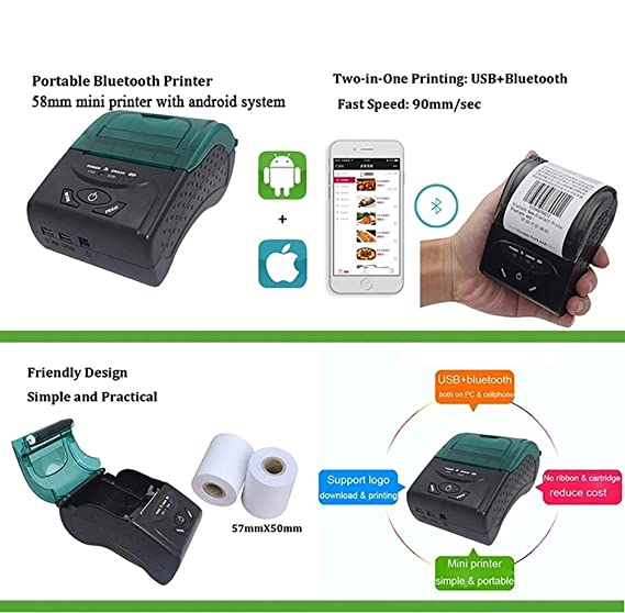 Amazon.com: ZUEN BT USB Impresora Térmica, Impresoras ...