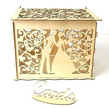 Decdeal Geschenkbox Diy Holz Hochzeit Karte Box Mit Schloss Und Karte Zeichen Rustikale Hohl Geschenk Kartenhalter Für Empfang Hochzeitstag Party