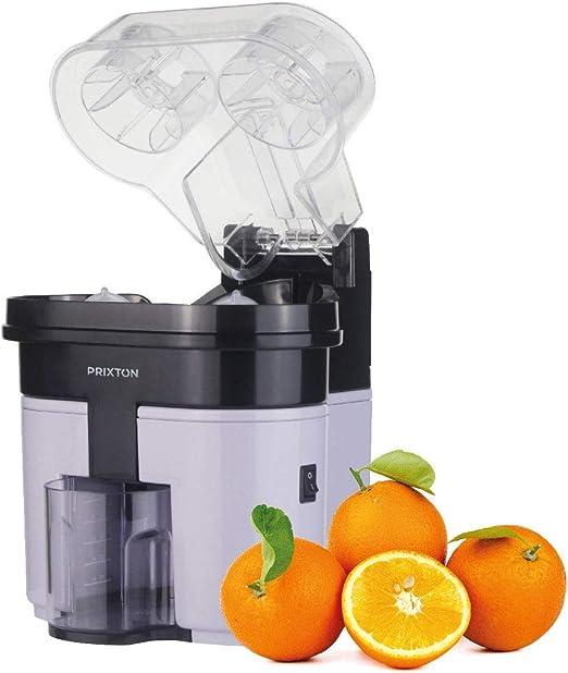 PRIXTON Exprimidor Electrico de Naranjas Profesional para Zumo, Exprimidor Automatico con Doble Cabezal y Cortador Incoporado, Potencia de 90 W y