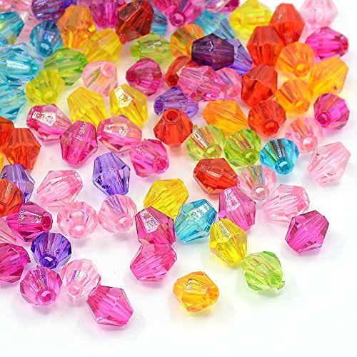 1000pc Mixed Multicolor Clear Acrylic Faceted Bicone Spacer Beads 6mm (6mm, Assorted) - Multi Color Lucite Bead