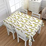 Davishouse Dragonfly Rectangular Tablecloth Asian Lotus Flower with Symbolic Insects Yoga Meditation Theme Artsy Print Oblong Wrinkle Resistant Tablecloth Apple Green Cream 60''x104''