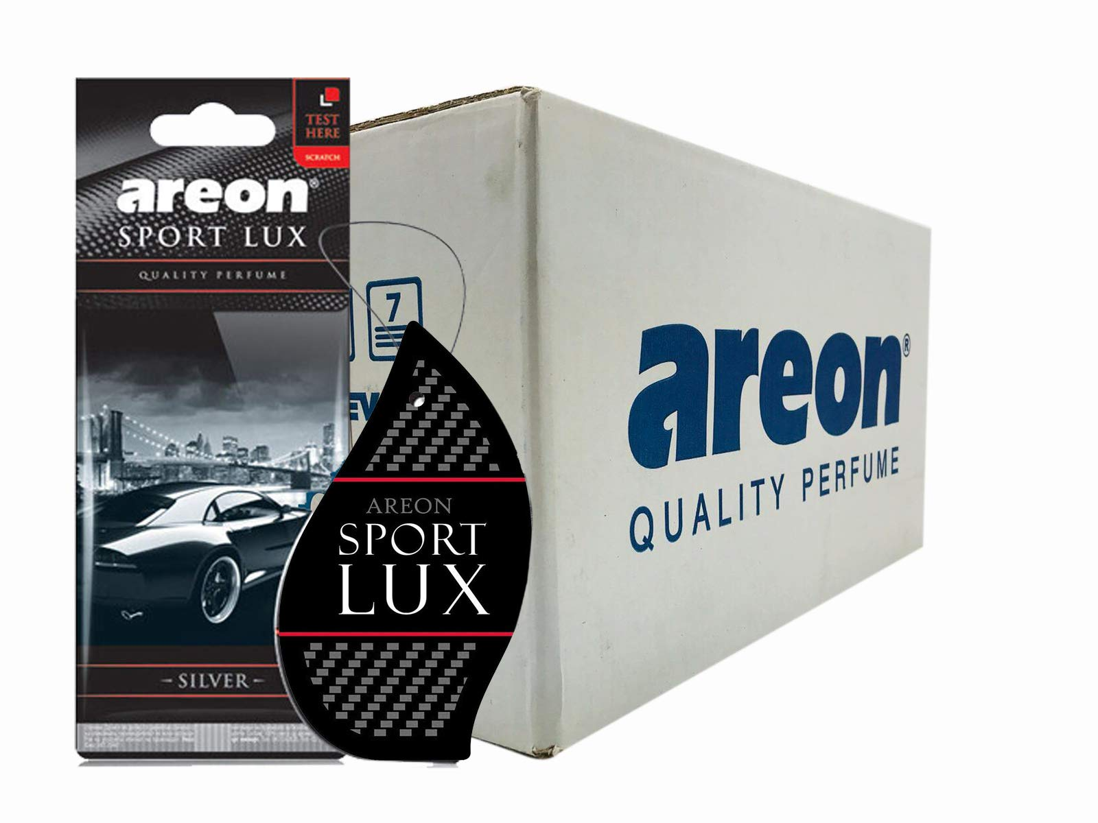 Areon Sport LUX Quality Perfume/Cologne Cardboard Car & Home Air Freshener (180, Silver)