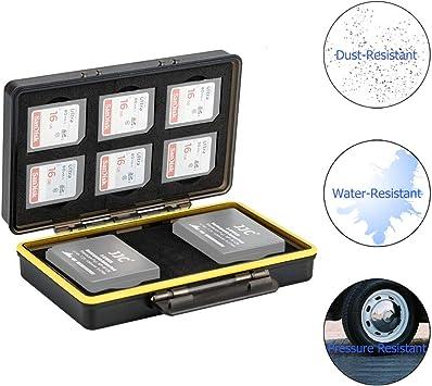 JJC Estuche para tarjetas de memorias: 6 Tarjetas SD SDHC SDXC + 2 baterías(para Fuji Fujifilm NP-W126 NP-W126S Batería compatible con X-T3 X-T30 X-T100 X-H1 X100F X-Pro2 X-Pro1 X-T2 X-T20 X-T10 X-E3: