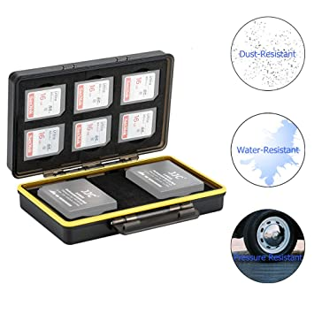 JJC Estuche para tarjetas de memorias: 6 Tarjetas SD SDHC SDXC + 2 baterías(para Fuji Fujifilm NP-W126 NP-W126S Batería compatible con X-T3 X-T30 ...