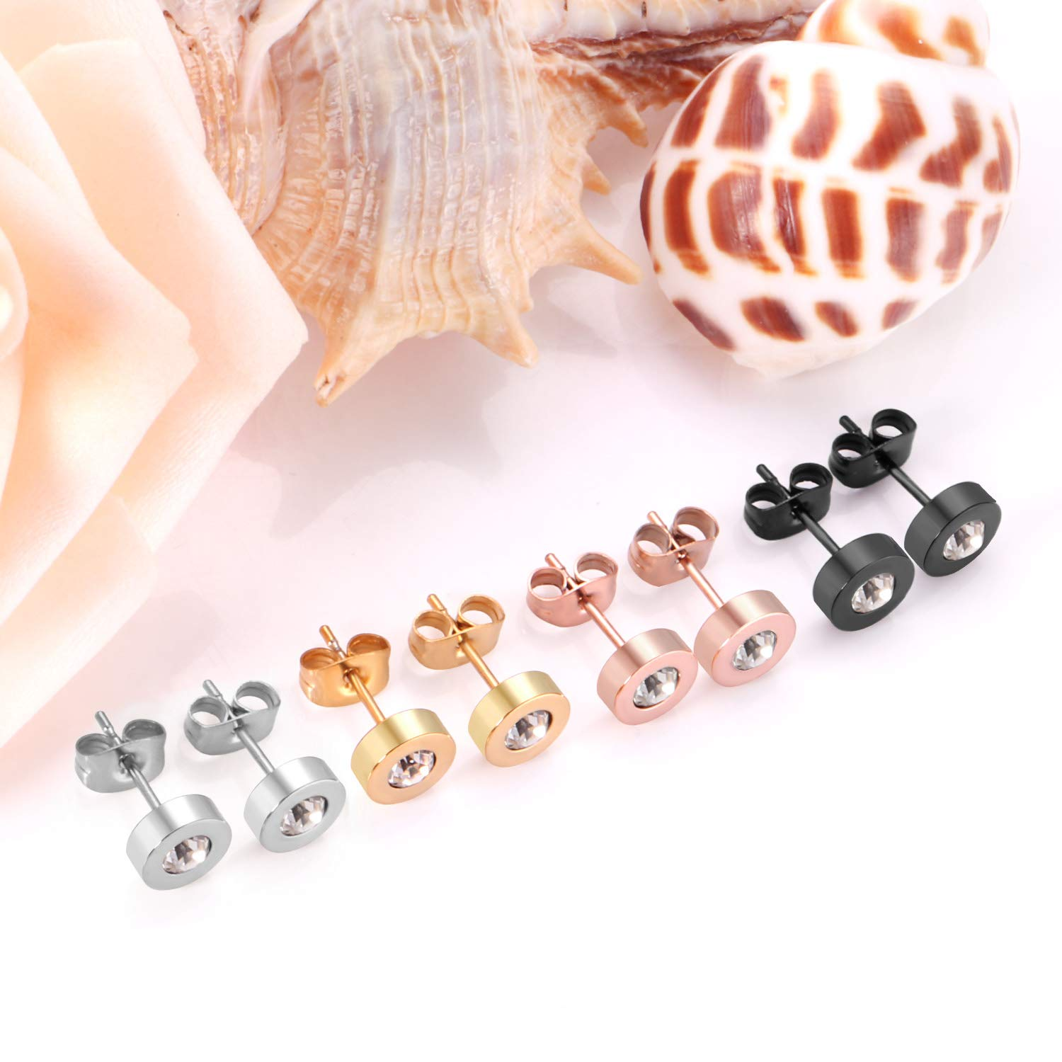 LUXUSTEEL 4 Colors 316L Stainless Steel Hypoallergenic CZ Stud Earrings for Women Teen Girls Silver,Gold,Rose Gold,Black