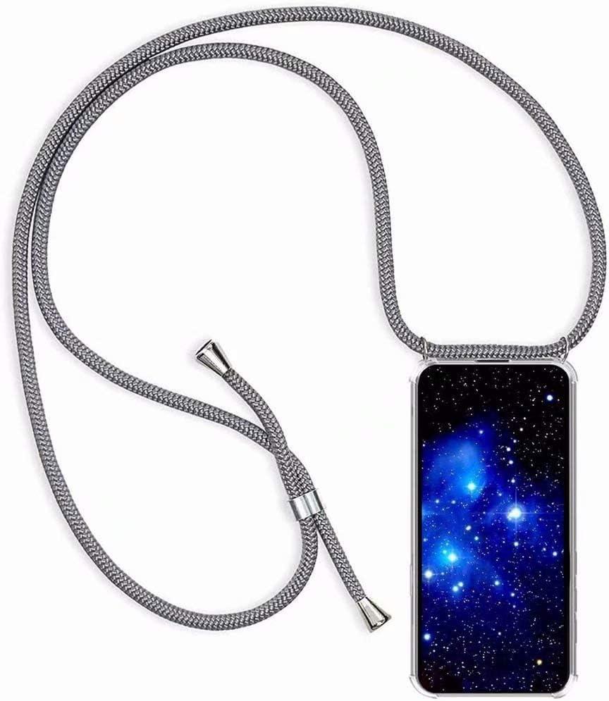 Bigcousin Funda con Cuerda Compatible con LG K50//Q60//K12 Max//K12 Prime,Transparente de TPU con Ajustable Collar Cadena Cord/ón,Gris