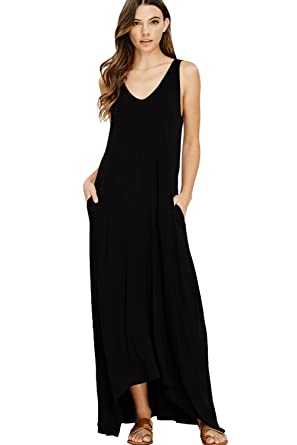 94f7c60a97 Annabelle Women's Casual V Neck Sleeveless Tank Top Long Maxi Dresses with Pockets  Small Black D5291