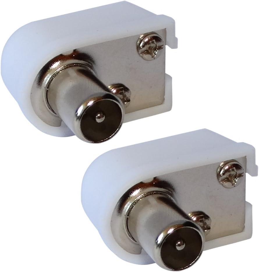 AERZETIX: 2 x Conectores Enchufe Antena TV Codo 9,5mm IEC 169-2 Tele coaxial para Extension