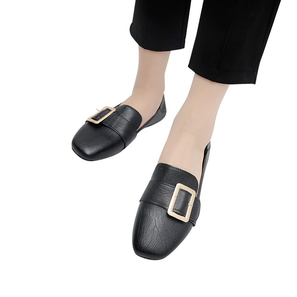 Shoes For Womens -Clearance Sale ,Farjing Fashion Women British Retro Single Shoes Shallow Mouth Small Shoes Flat Shoes(US:6,Black)