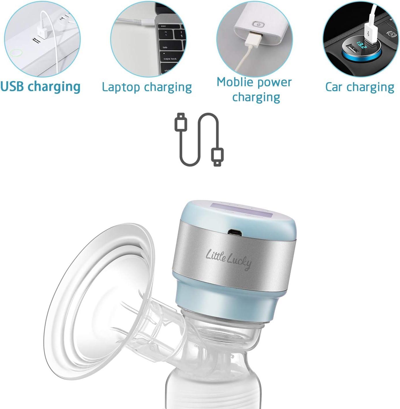 extractor de leche materna Bombas de leche materna el/éctricas port/átiles sin cables para viaje receptor de leche materna con USB recargable funciona con pilas Little Lucky