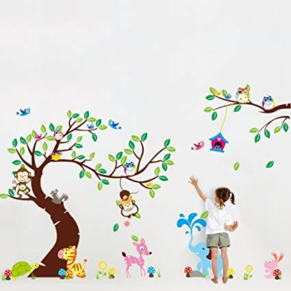 Jungle Bosque animales mono, eichh?rnchen y búho Balancín parte a multicolores BL?ttern algodón pared adhesivo decorativo para pared