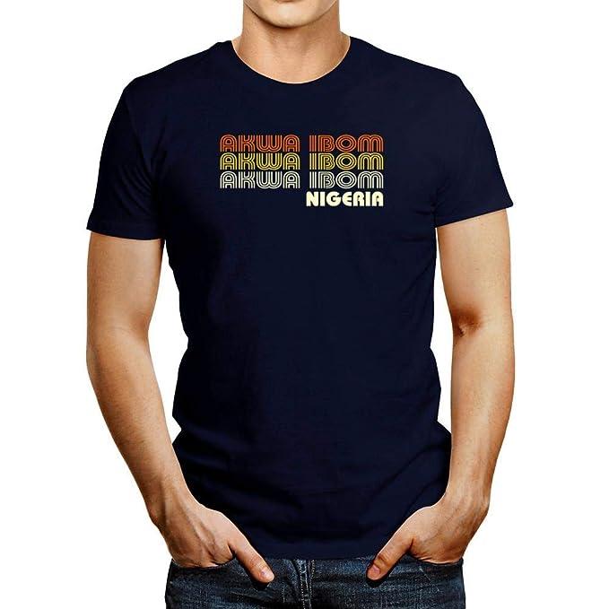 Idakoos Retro Color Akwa Ibom T-Shirt Navy Blue | Amazon com