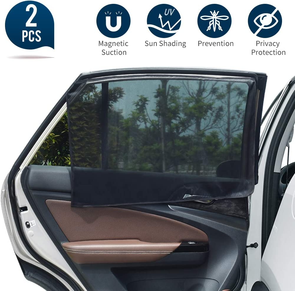 Fits Most Cars//SUVs Uarter Universal Car Rear Side Window Magnetic Stretch to Fit Sun Shade Baby Kid Pet Breathable Sun Shade Mesh Backseat 2 Pcs
