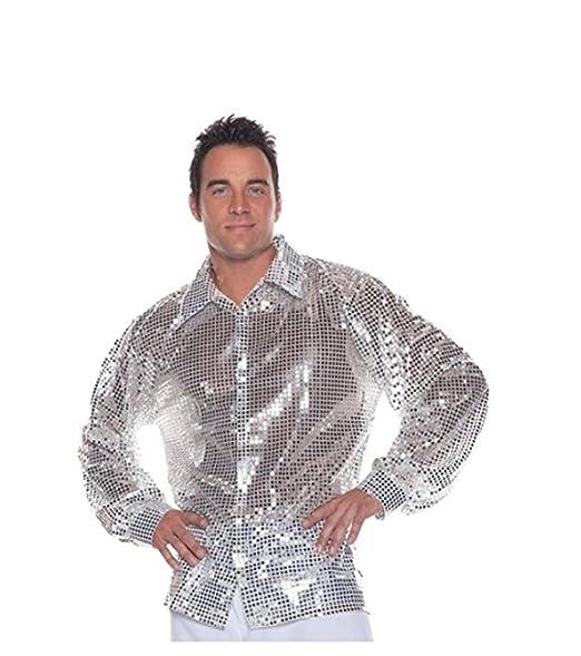 Amazon.com: MyPartyShirt lentejuelas plata camisa disfraz ...