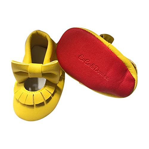 19e32ffe657c Baby Girls Yellow Red Soft Sole Mary Jane Bow Faux Leather Crib Shoes 6-12M