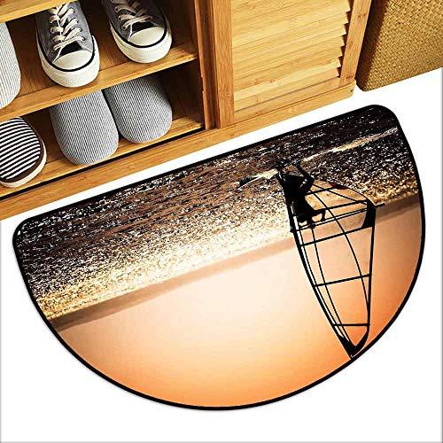(YOFUHOME Coastal Bathroom Suction Door mat Windsurfer Silhouette Sunset Water Sports Summertime Fun Holiday Art Personality W35 x L23 Dark Orange Black White)