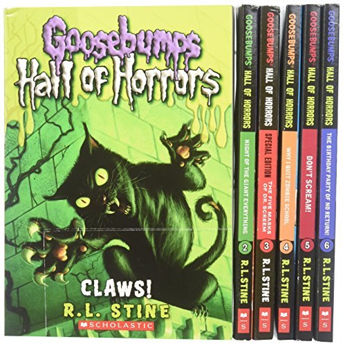 Goosebumps Hall of Horrors Boxed Set: #1 Claws!; #2 Night of the Giant Everything; #3 The Five Masks of Dr. Screem; #4 Why I Quit Zombie School; #5 Don't Scream!; #6 The Birthday Party of No Return! (Books 1-6)]()
