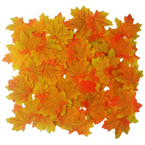 LEFV™ Artificial Fall Maple Leaves in Autumn Colors - Great Table Scatters for Fall Weddings Autumn Parties Baby Shower Favor Decor, Pack of 100, Yellow&Orange
