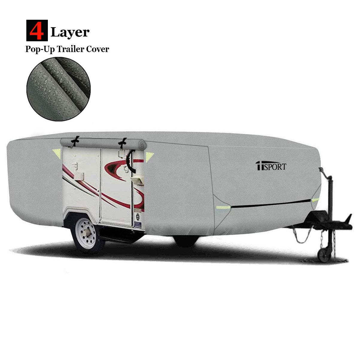 Water Resistant Pop Up Folding Camper RV Cover Fits 12-14ft Long Trailers - Heavy Duty Weatherproof RV Storage Cover with 4-Ply Poly Fabric by iiSPORT