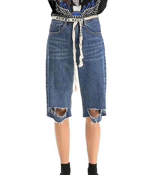 ZhiYuanAN Mujer Vaqueros Capri Moda Rasgados Pantalones ...