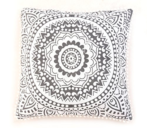 Indian 100% Cotton Mandala Cushion Cover Meditation Floor Cushion Cover Home Decor Ethnic Pillow Sham Large Pom Pom Lace Square Couch Pillow Cover Outdoor Pillow Cases Euro Sham Pillow Cover Set of 2 ()