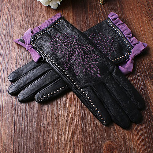 Nappaglo Women's Genuine Nappa Leather Gloves Perforated Winter Warm Short Gloves with Purple Lace (S (Palm Girth:6.5''-7''), Black (Non-Touchscreen)) by Nappaglo (Image #3)