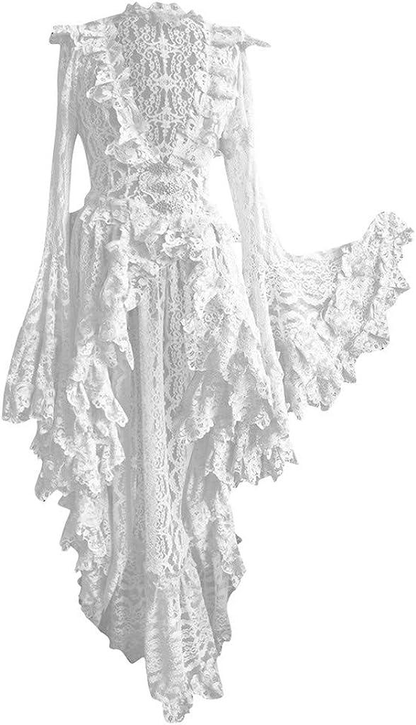 SUMSAYEI Women Medieval Renaissance Dress Celtic Chemise Retro Gothic Solid V-Neck Lace Stitching Vintage