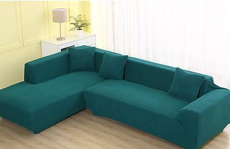 Q&F Sofá De Algodón Cubiertas Fundas Antideslizantes Sólido Color Muebles Protector De La Tela 1 2 3 Sofá 4-1 Pieza-Verde 75-91in: Amazon.es: Hogar