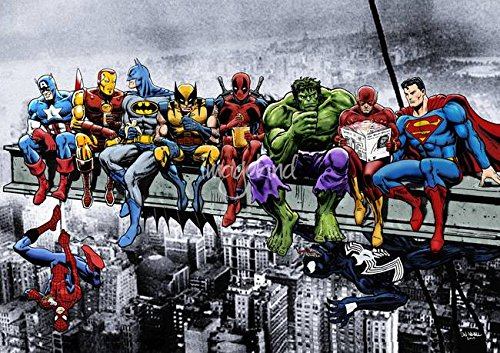 Wall Art Print entitled Marvel And DC Superheroes Lunch Atop A Skyscraper by Dan Avenell | 23 x 16