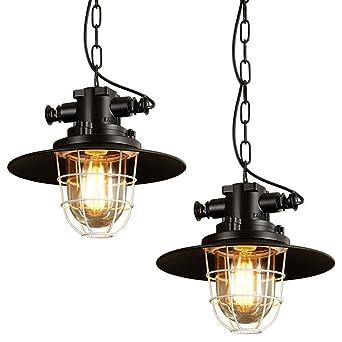2x Modern Industrielle Metall Einzel Hängeleuchte Pendelleuchten   MOTENT  Minimalist Industrielampe Schwarz Ceiling Lampe 11,