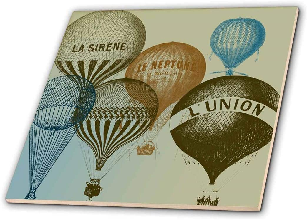 3dRose ct_178940_2 Vintage French Hot Air Balloons Ceramic Tile, 6-Inch