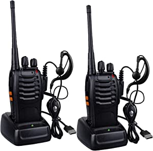 Walkie Talkies for Adults Kids - 5 Miles Long Range Two-Way Radios Rechargeable Handheld Walkie Talkie with Earpiece 16-Channel UHF 400-470MHz for Family Home Cruise Ship Camping Hiking - 2 Pack