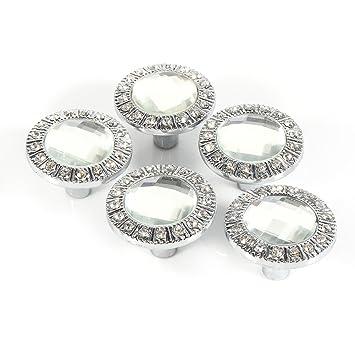 10pcs 30mm Clear Crystal Diamond Door Knobs Wardrobe Doorknob Cabinet Knob  Drawer Pull Handle (Silver