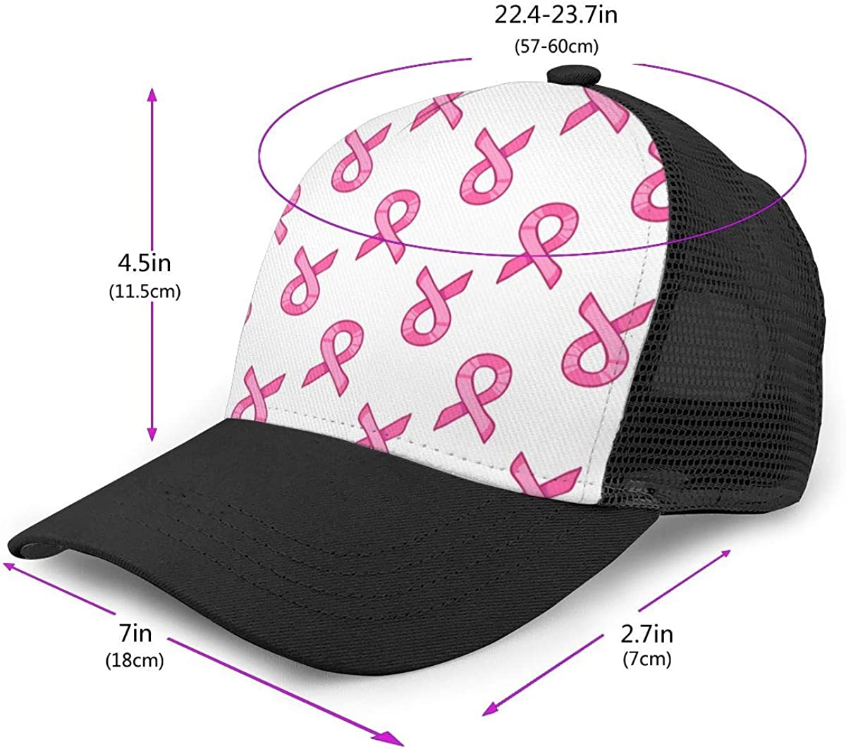Fashion Dad Hat for Unisex Co23@Cap Mens Pink Breast Cancer Awareness Flat Baseball Hat