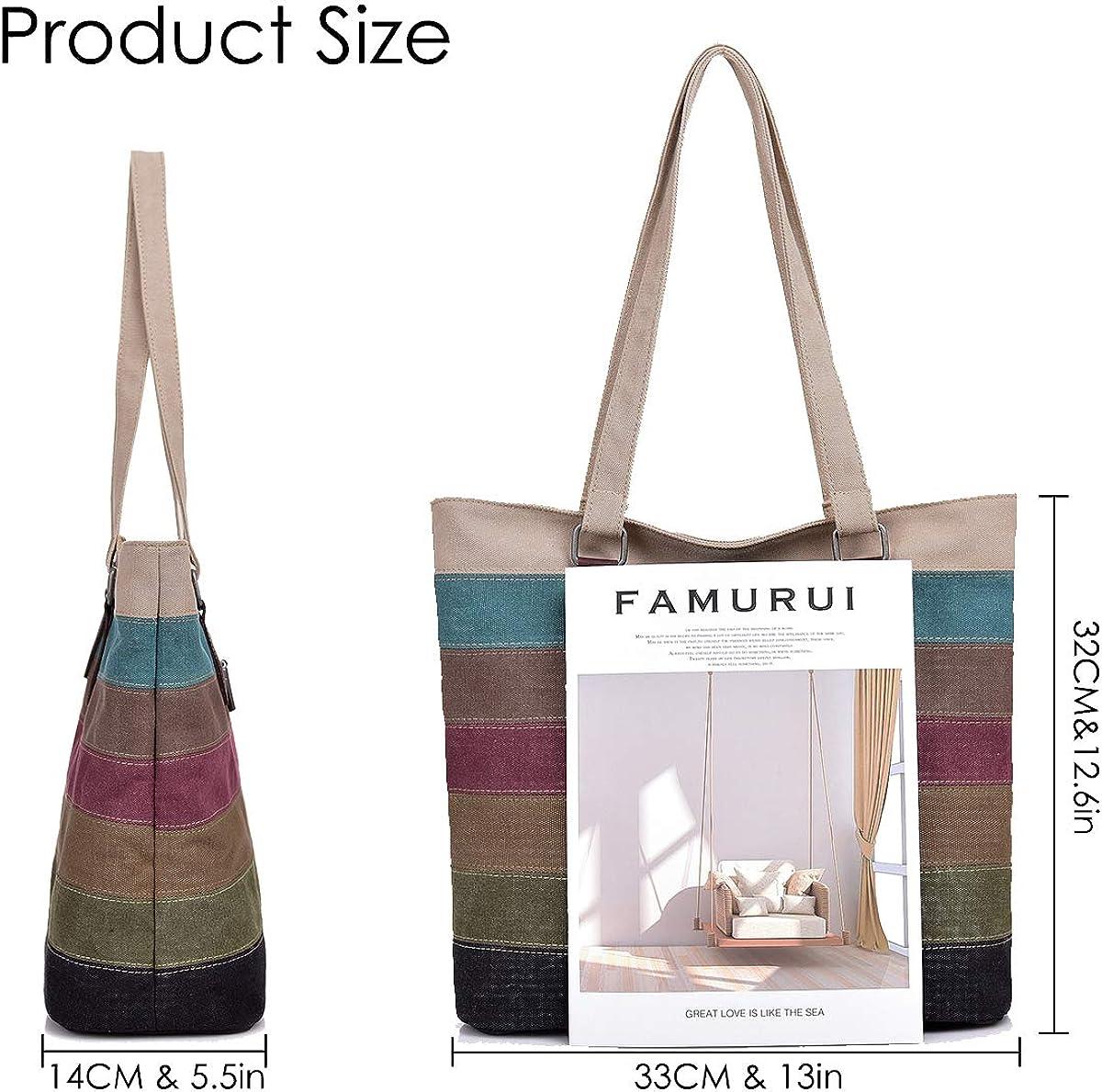 CHEREEKI Tote Bag Striped Canvas Womens Handbag for School Work Shopping and Travel