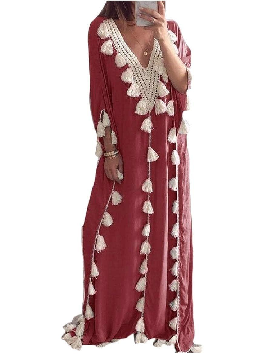 Comaba Womens Deep V Neck Stitch Cover-ups Kaftan Folk Style Long Dress