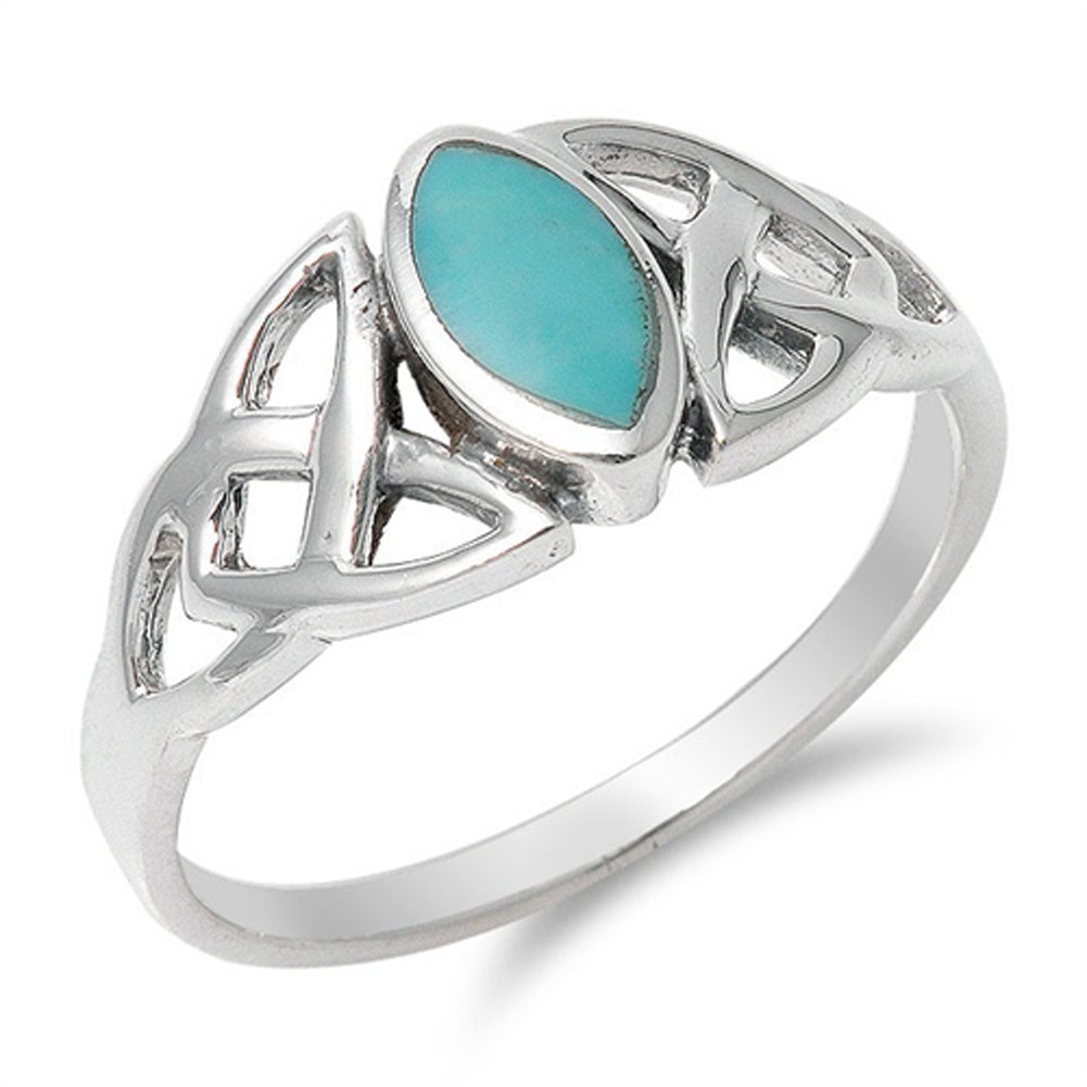 Simulated Turquoise Celtic Knot Classic Marquise Ring .925 Sterling Silver Band Size 6