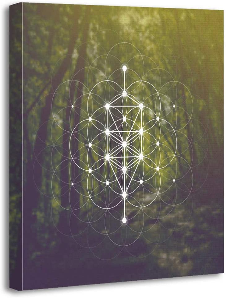 Altuny Canvas Print Wall Painting Pictures Tree Life Sacred Geometry Kabbalah Symbol Front Repeating 16x20 Inch Artwork Modern Decor for Living Room Bedroom Bathroom Great Gift